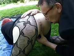 Punk slut and a couple of guys fuck outdoors tubes