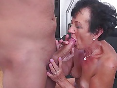 Cocksucking granny slut bends over and fucks tubes