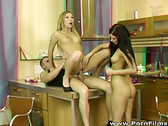 Porn films 3d - hot chicks share cock and cum tubes