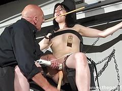 Enslaved honesty cabellero nipple clamped tubes
