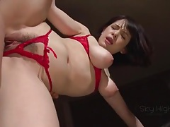 Red crotchless panties are sexy on an asian babe tubes