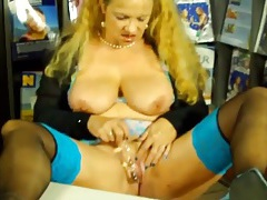 Secretary slut in stockings sucks and fucks a toy tubes