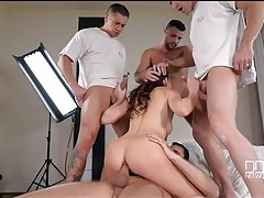 Gangbang in the photo studio with a hot model tubes