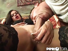 Tgirl pounds his ass and cums on his face tubes