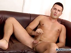 Pierced nipple solo guy strokes his dick tubes