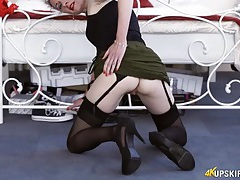 Bent over upskirt shows her amazing pussy tubes