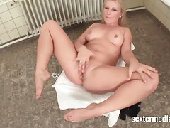 Blonde in sexy fishnets masturbates solo tubes