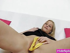 Leggy blonde beauty pervy nylon piss hole fetish tubes
