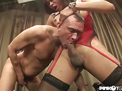 Red lace goddess fucks him with her tranny cock tubes