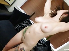 Big tits hottie looks damn good in a leopard print dress tubes