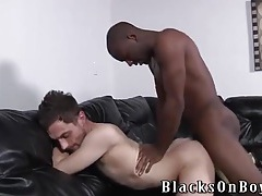 Hot interracial ass fucking on a leather couch tubes