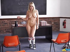 Sweater and a schoolgirl skirt stripped off tubes