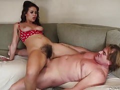 Big man fucks a hairy bush girl in her cunt tubes