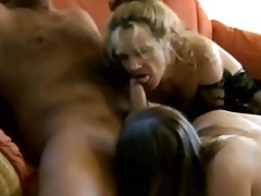 Fucked ladies open wide to taste his hot semen tubes