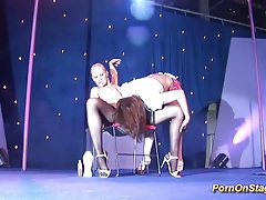 Hot lesbian sex show on public stage tubes