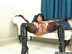 British milfs lelani and red masturbate in knee high boots tubes