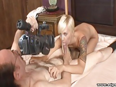Blue eyed blonde blows the old man tubes