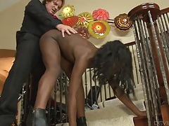 Standing doggystyle with a sexy black cock slut tubes