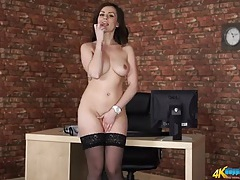 British babe strips from her sexy work clothes tubes