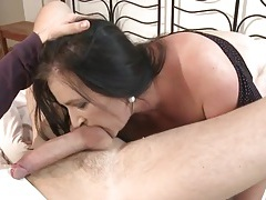 Bbw cocksucker drops her pussy on his dick tubes