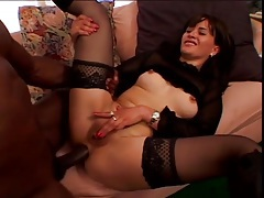 Black dick owns the ass of a slut in stockings tubes