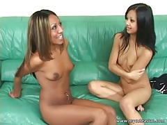 Cute and skinny asian licked by a lesbian tubes