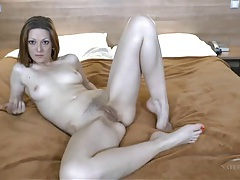 Hairy pussy babe at home filming her cunt and feet tubes