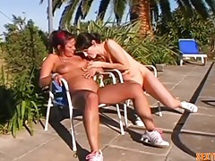 Naked lesbian tied to a chair outdoors tubes