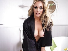 Her amazing tits keep falling out of her satin robe tubes