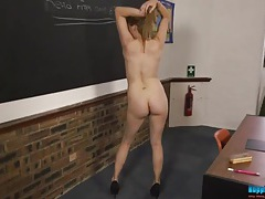 Cute schoolgirl has fun stripping in class tubes
