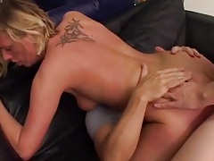 Cocks compete to get into the cunt of a blonde tubes