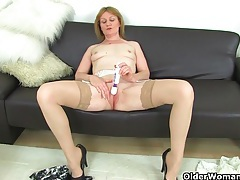 British milfs molly and clare in stockings with suspenders tubes