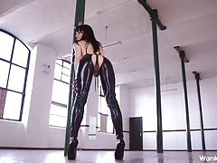 Mistress in skintight leather humiliates you tubes