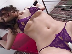 Beauty in bondage shakes from pussy pleasure tubes