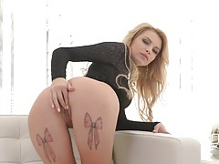 Total babe in a black teddy fucks her dildo tubes