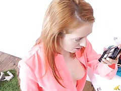 Sexy tit flashing redhead in a pretty pink blouse tubes