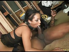 Leashed slut fucked from behind by black dick tubes