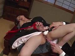 Vibrating pink toy slides into her asian cunt tubes