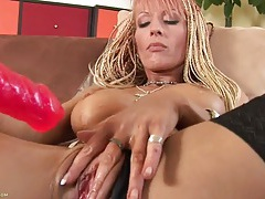 Big toy pumping her soaking wet milf pussy tubes