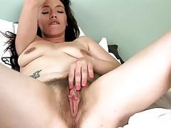Hairy naked chick masturbates erotically tubes