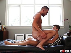 Bearded hunk sits his ass on a dick tubes