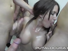 18 loads of cum dumped on a busty slut tubes