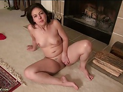 Cute shaved milf chats while rubbing her pussy tubes
