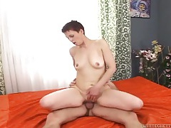 Slut on top taking cock in her pussy and ass tubes