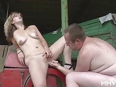Milf on the farm sucks his soft cock erotically tubes