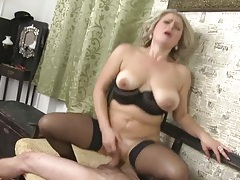 Moaning old lady cums on a cock in her snatch tubes