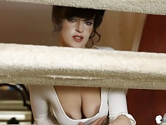 Sexy british girl teasing her arousing cleavage tubes