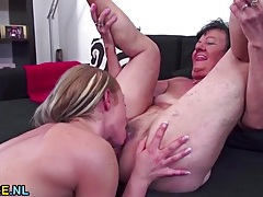 Granny rimmed out by a sexy young chick tubes